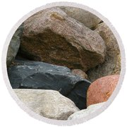 Rocks In Various Colors Round Beach Towel