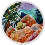 Rocks Near Red Feather Round Beach Towel