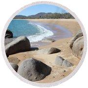 Rocks On The Beach Round Beach Towel
