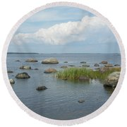 Rocks On The Baltic Sea Round Beach Towel