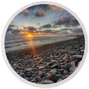 Rocky Coast Sunset Round Beach Towel