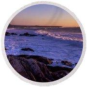 Rocky Coastline At Sunset, Montana De Round Beach Towel