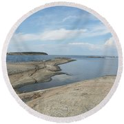 Rocky Coastline In Hamina Round Beach Towel