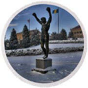 Rocky In The Snow Round Beach Towel