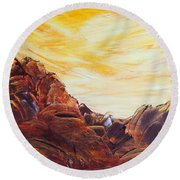 Round Beach Towel featuring the painting Rocky Landscape II by Teresa Wegrzyn