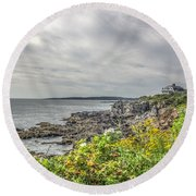 Round Beach Towel featuring the photograph Rocky Maine Shoreline by Jane Luxton