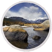 Rocky Mountain Creek Round Beach Towel