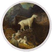 Rocky Mountain Goats Round Beach Towel by Albert Bierstadt