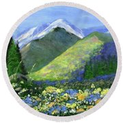 Rocky Mountain Spring Round Beach Towel