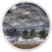 Rocky Mountain Snow Storm Estes Park Colorado Round Beach Towel