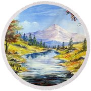 Rocky Mountain Stream Round Beach Towel