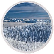 Rocky Mountain Winter Round Beach Towel by Aaron Aldrich