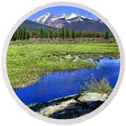Rocky Mountains River Round Beach Towel