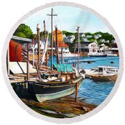 Rocky Neck October Round Beach Towel by Eileen Patten Oliver