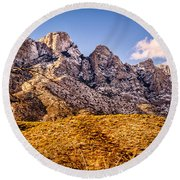 Round Beach Towel featuring the photograph Rocky Peaks by Mark Myhaver