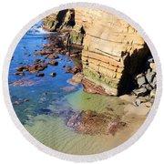 Rocky Point Sunset Cliffs Round Beach Towel