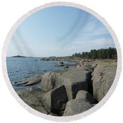 Rocky Seashore 2 In Hamina  Round Beach Towel