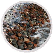 Rocky Shoreline Abstract Round Beach Towel by James Peterson