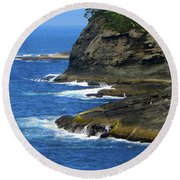 Round Beach Towel featuring the photograph Rocky Shores by Tikvah's Hope