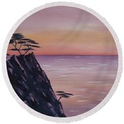 Rocky Sunset Round Beach Towel