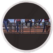 Rodeo Fence Sitters Round Beach Towel