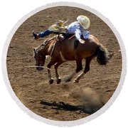 Rodeo Time Bucking Bronco 2 Round Beach Towel