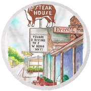 Rod's Steak House In Route 66 - Williams - Arizona Round Beach Towel by Carlos G Groppa