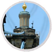 Round Beach Towel featuring the photograph Roebling Bridge From Kentucky by Kathy Barney