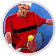 Roger Federer The Swiss Maestro Round Beach Towel