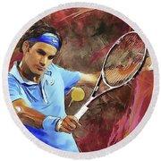 Roger Federer Backhand Art Round Beach Towel