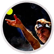 Roger Federer Tennis 1 Round Beach Towel by Lanjee Chee