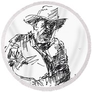 Roger In A Cowboy Hat Round Beach Towel