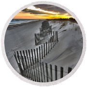 Rogers Beach First Day Of Spring 2014 Round Beach Towel