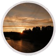 Rogue August Sunset Round Beach Towel by Mick Anderson