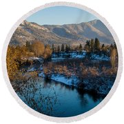 Rogue River Winter Round Beach Towel by Mick Anderson