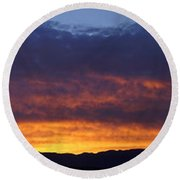 Rogue Valley Sunset Panoramic Round Beach Towel by Mick Anderson