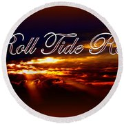 Roll Tide Roll W Red Border - Alabama Round Beach Towel