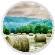 Rolled Bales Round Beach Towel by Mick Anderson