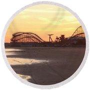 Roller Coaster Sunset Round Beach Towel