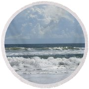 Rolling Clouds And Waves Round Beach Towel by Ellen Meakin