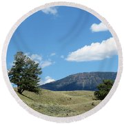 Round Beach Towel featuring the photograph Rolling Hills by Laurel Powell