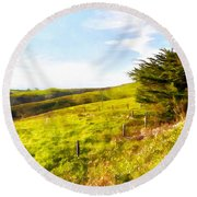 Rolling Landscape Hills Of Point Reyes National Seashore California Dsc2411wc Round Beach Towel