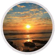Rolling Over Rocks Round Beach Towel