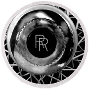 Rolls Royce - Black And White Round Beach Towel