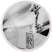Rolls-royce Hood Ornament -782bw Round Beach Towel