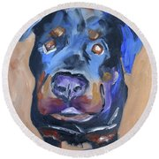 Round Beach Towel featuring the painting Roman by Donna Tuten