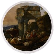 Roman Landscape With Cattle And Shepherds Round Beach Towel by Johann Heinrich Roos