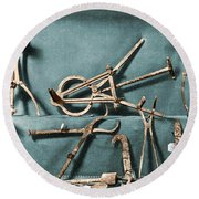 Round Beach Towel featuring the photograph Roman Surgical Instruments, 1st Century by Science Source