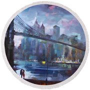 Romance By East River II Round Beach Towel