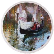 Romance In Venice 2013 Round Beach Towel